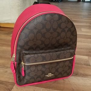 Coach Medium Charlie Backpack Signature Brown Red